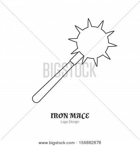 Medieval iron mace morning star. Single logo in modern thin line style isolated on white background. Outline medieval theme symbol. Simple mono linear pictogram. Stroke vector logotype template.