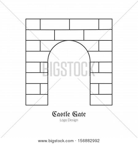 Medieval castle brick gate. Single logo in modern thin line style isolated on white background. Outline medieval theme symbol. Simple mono linear pictogram. Stroke vector logotype template.