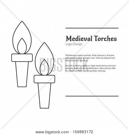 Two Medieval flame torches. Double torch logo in modern thin line style isolated on white background. Outline medieval theme symbol. Simple mono linear pictogram. Stroke vector logotype template.