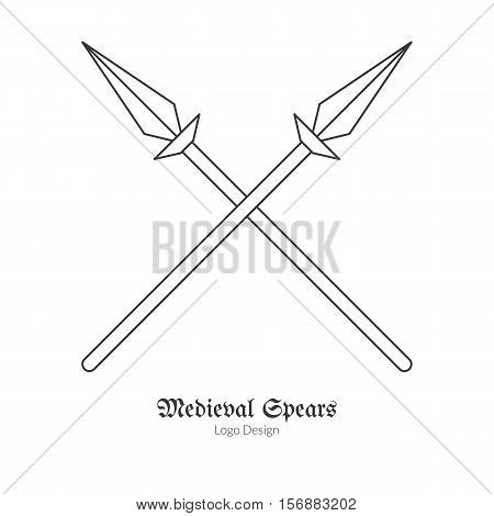 Medieval crossed spears lances. Single logo in modern thin line style isolated on white background. Outline medieval theme symbol. Simple mono linear pictogram. Stroke vector logotype template.