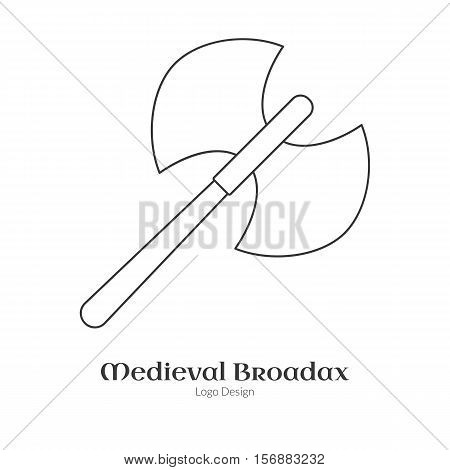 Medieval guard double axe broadax. Single logo in modern thin line style isolated on white background. Outline medieval theme symbol. Simple mono linear pictogram. Stroke vector logotype template.