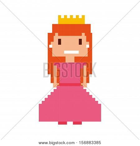pricess girl pixelated icon vector illustration design