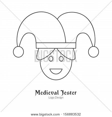 Medieval jester buffoon juggler. Single logo in modern thin line style isolated on white background. Outline medieval theme symbol. Simple mono linear pictogram. Stroke vector logotype template.