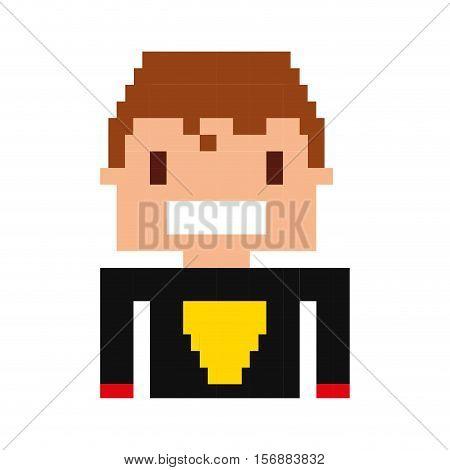 super hero pixelated icon vector illustration design