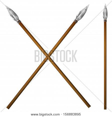 Spear primitive man isolated on white background