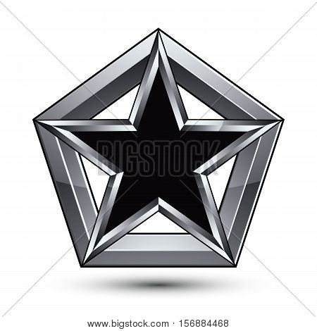 Silvery blazon with pentagonal black star can be used in web and graphic design