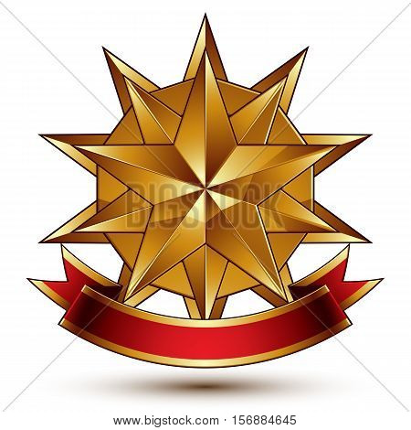 Complicated vector golden design element with polygonal decorative star and red curvy ribbon.