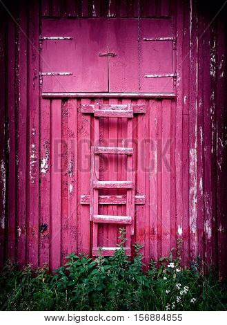 Vertical Wooden Ladder Lean-to Classic Norway Cabin Background