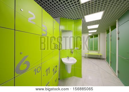 Empty modern cloakroom, sink and Shower cabins in gym with lockers and mirror