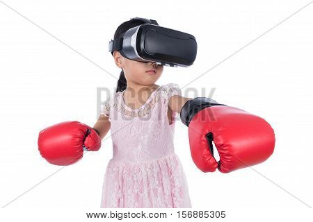 Asian Chinese Little Girl Experiencing Virtual Reality With Boxing Gloves