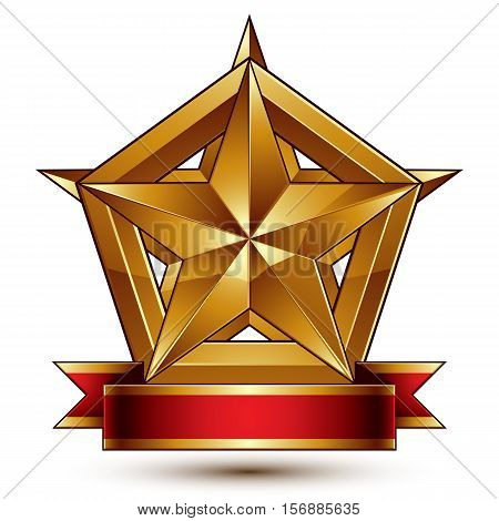 3d golden heraldic blazon with glossy pentagonal star best for web and graphic design.