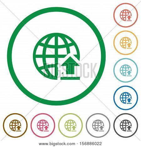Upload to internet flat color icons in round outlines
