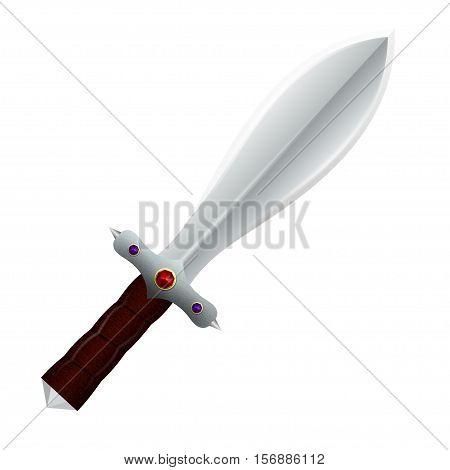 Double - edged knife  isolated on white background