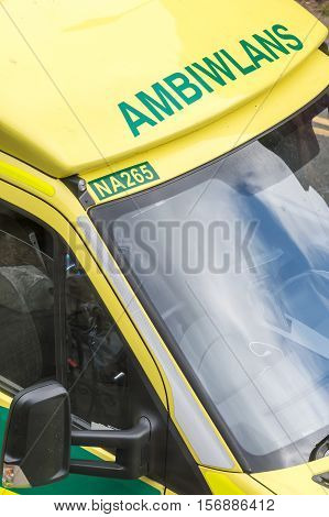 WREXHAM UK - AUGUST 30 2016: Detail of an empty cabin of a Welsh NHS emergency service ambulance.