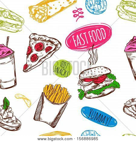 Fastfood hand drawn style isolated symbols of burgers fries pizza and decorative captions on blank background vector illustration