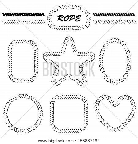 set of vector blank frames in the shape of a heart star round square oval rectangle. Vector brush style nautical rope