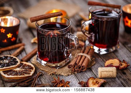Hot wine for winter and Christmas, mulled wine