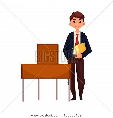 Clever school boy standing at the desk and holding a book, cartoon vector illustration isolated on white background. Full height portrait of pretty boy in school uniform standing at the desk