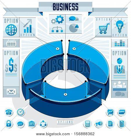 Creative Infographics Elements Concept, 3D Three Sectors Circle Idea, Vector Layout Illustration.