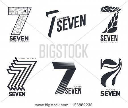 Set of black and white number seven logo templates, vector illustrations isolated on white background. Black and white graphic number seven logo templates - technical, organic, abstract