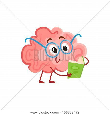 Funny smiling brain in round glasses reading a book, cartoon vector illustration on white background. Cute brain character in nerdy glasses with a book as a symbol of brain training and education