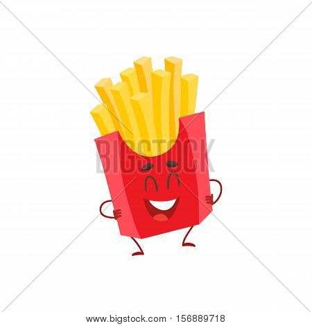 Funny french fries fast food kids menu character, cartoon style vector illustration isolated on white background. Funny laughing French fries character with eyes, legs, and a wide smile