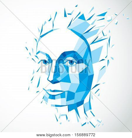 Modern technological illustration of personality 3d blue vector portrait. Intelligence metaphor low poly face with splinters which fall apart head exploding with ideas thoughts and imagination.