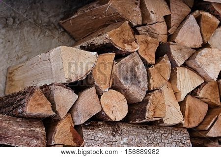 Pile of chopped fire wood logs. Ready for winter. Close up
