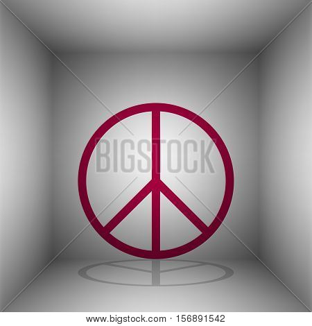 Peace Sign Illustration. Bordo Icon With Shadow In The Room.