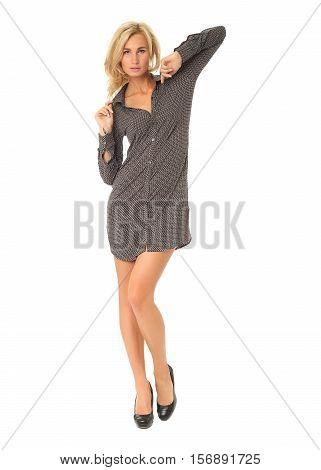 Full Length Of Flirtatious Woman In Shirt Dress Isolated On White