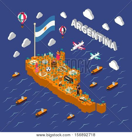 Argentina attractions for tourists and travelers isometric map poster with national football symbols and obelisk monument vector illustration