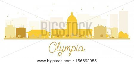 Olympia City skyline golden silhouette. Vector illustration. Simple flat concept for tourism presentation, banner, placard or web site. Business travel concept. Cityscape with landmarks