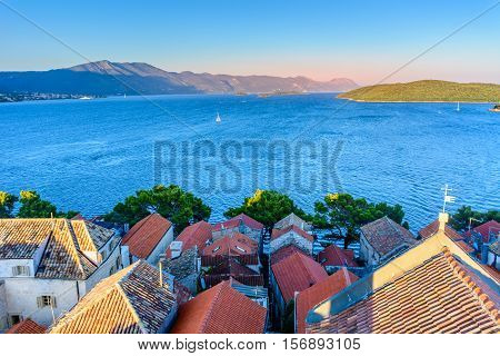 Aerial view at town Korcula, Peljeski channel and islands in Adriatic Sea, Croatia Europe.