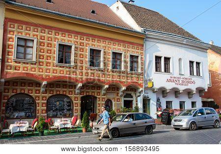 BUDAPEST HUNGARY - OCTOBER 1 2016: Restaurant in the historic center of Budapest Hungary