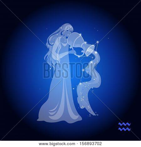 Aquarius zodiac sign, female figure with a pitcher
