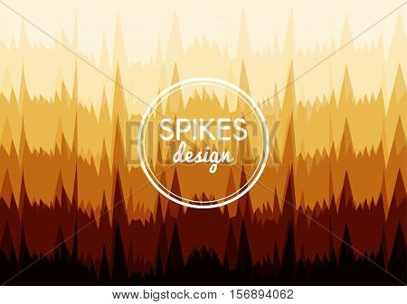 Vector background of sharp spikes in rows. Organic shapes. Ochre gradient