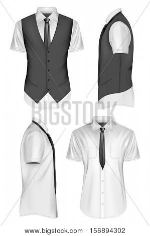 Men short sleeve shirt with tie and waistcoat. Fully editable handmade mesh, Vector illustration.