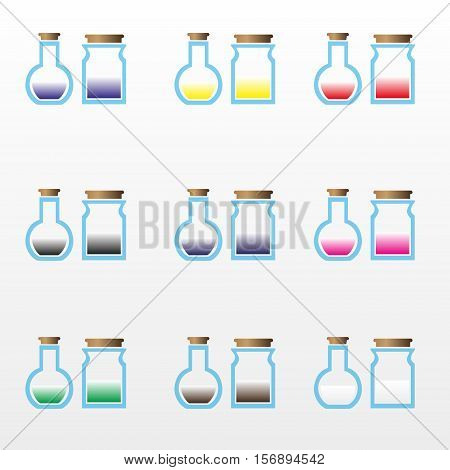 Science Laboratory Glass Flask With Various Color Liquid Icons Eps10