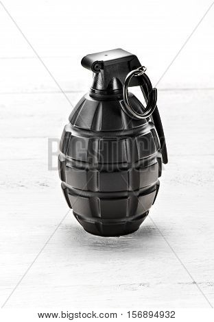 Grenade Standing Upright With The Pin In
