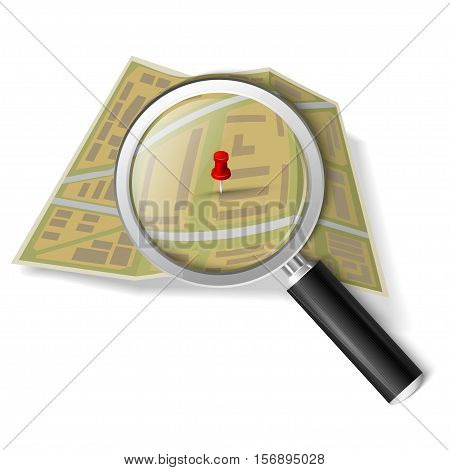 Magnifying glass over the map isolated on white background