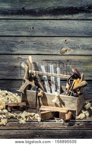 Saw, Hammer And Chisel In The Carpentry Toolbox