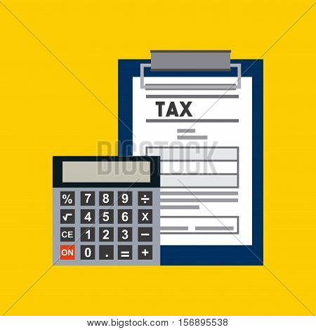 report table with tax documents and calculator device icon over yellow background. vector illustration