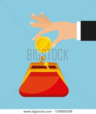 human hand with gold money coin and red purse over blue background. vector illustration
