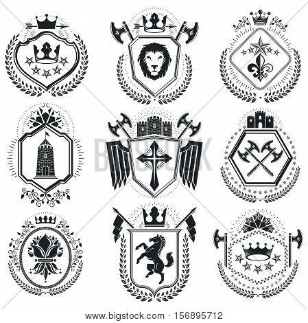 Luxury Heraldic Vectors Emblem Templates. Vector Blazons. Classy High Quality Symbolic Illustrations