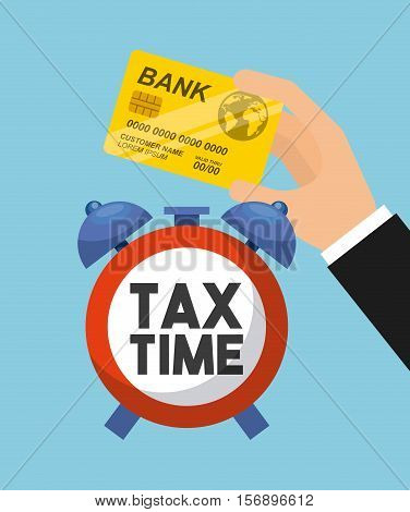 tax time clock and human hand holding a bank card over blue background. tax design. vector illustration