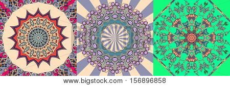 Vector set of ornamental background. Bandana print or kerchief square pattern. Silk neck scarf design.