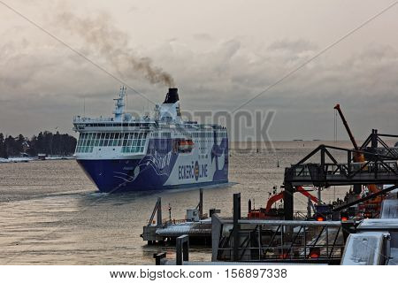 HELSINKI, FINLAND - NOVEMBER 4, 2016: Cruiseferry Finlandia of Eckero Line departs to Tallinn. Built in 2001, the ship has capacity for 2080 passengers and 610 cars