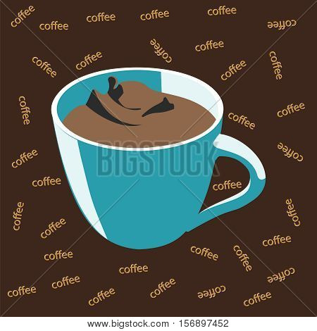 Blue cup of coffee Idea concept. Brown background with the inscription coffee