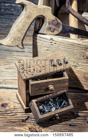 Nails And Tool Box In Carpenter Workbench