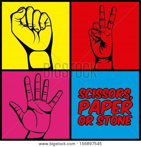 scissors paper or stone design with human hands over pop art colorful background. vector illustration